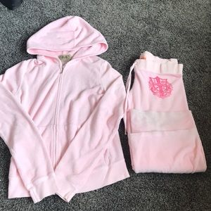 JUICY COUTURE pink terry cloth track suit